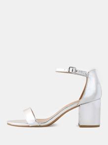 Metallic Block Heels SILVER