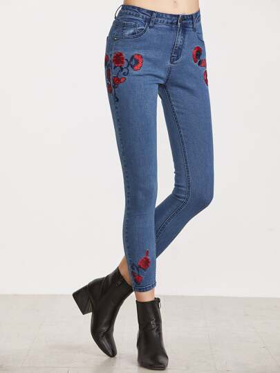 Flower Embroidered Crop Skinny Jeans