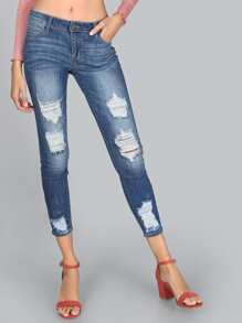 Distressed Medium Wash Denim Jeans DENIM
