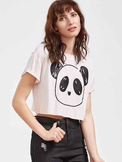 White Panda Print Crop T-shirt