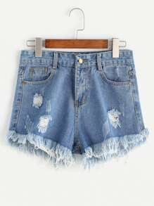 Shorts en denim bleu