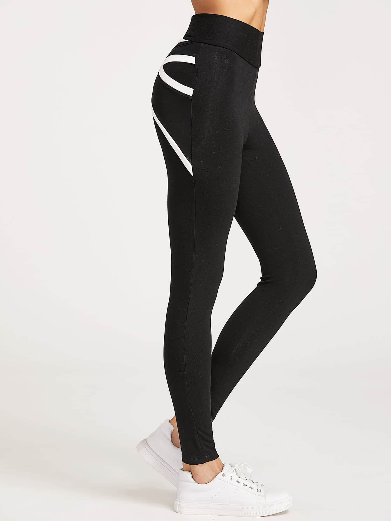 Contrast Trim Crisscross Mesh Back Leggings -SheIn(Sheinside)