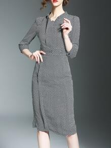 Black White Plaid Split Sheath Dress