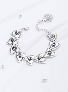 Silver Floral Pattern Triangle Design Bracelet