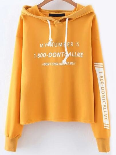 Letter Print Drawstring Dropped Shoulders Hooded Sweatshirt