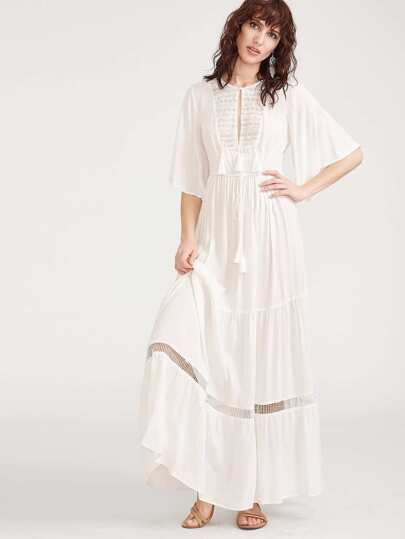 White Lace Yoke Flutter Sleeve Tasseled Tie Peasant Dress