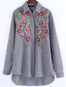 Checked Embroidered High Low Shirt Dress
