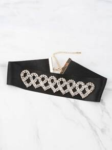 Interlinked Rhinestone Heart Choker BLACK