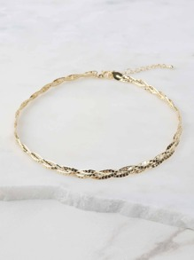 Textured Metallic Chain Choker GOLD