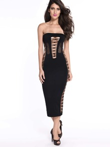 Black Cutout Detail Strapless Dress