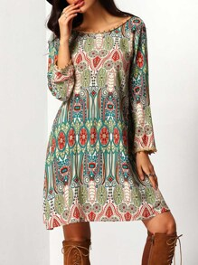 Aztec Print V Back Shift Dress