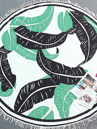 Leaf Print Fringe Trim Round Beach Blanket