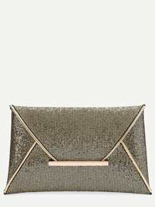 Gold Glitter Design Envelope Clutch Bag