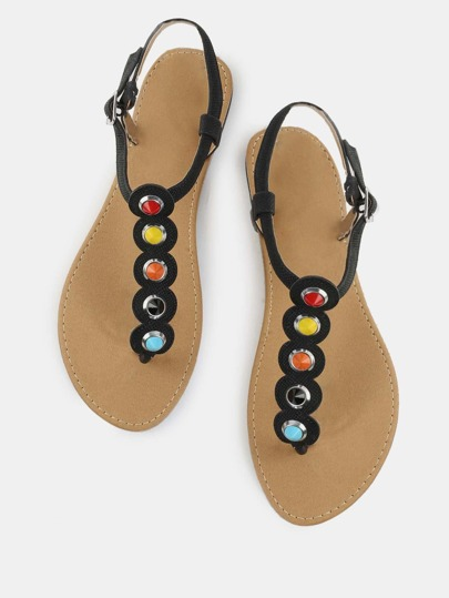 Textured Stud Thong Sandals BLACK