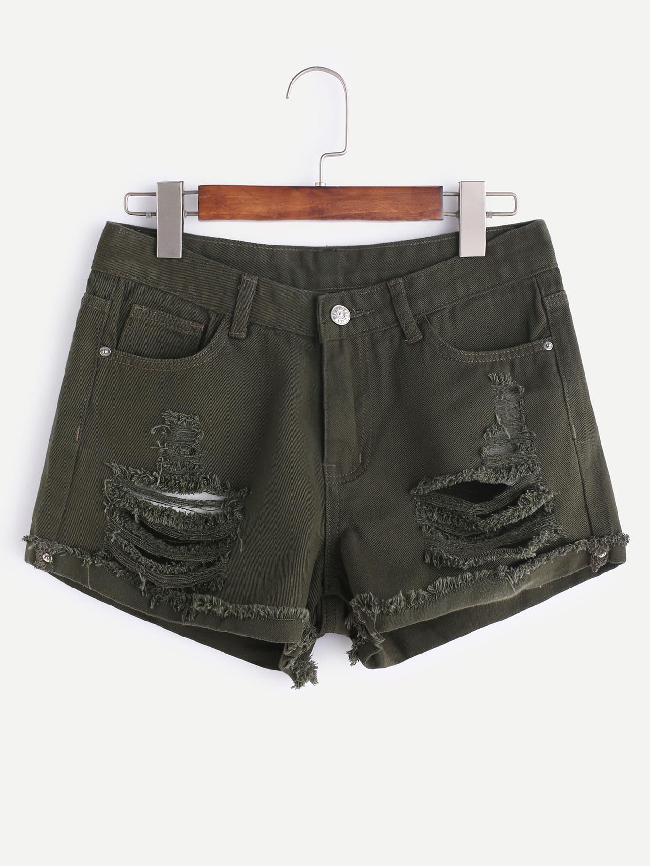 Distressed Frayed Cuffed Denim Shorts shorts170221450