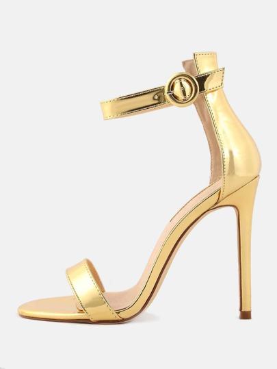 Metallic Ankle Strap High Heels GOLD