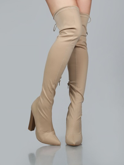 Pointy Toe Stacked Heel Thigh Boots TAUPE