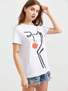 White Abstract Face Print Short Sleeve T-shirt