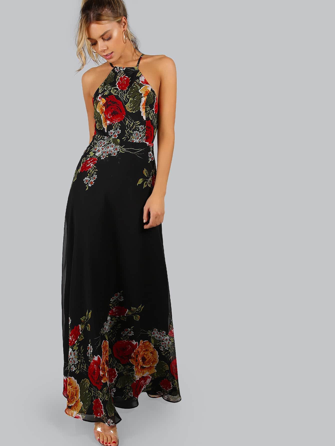 Фото Black Flower Print Halter Neck Open Back Maxi Dress. Купить с доставкой