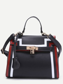 Black Striped Trim PU Shoulder Bag