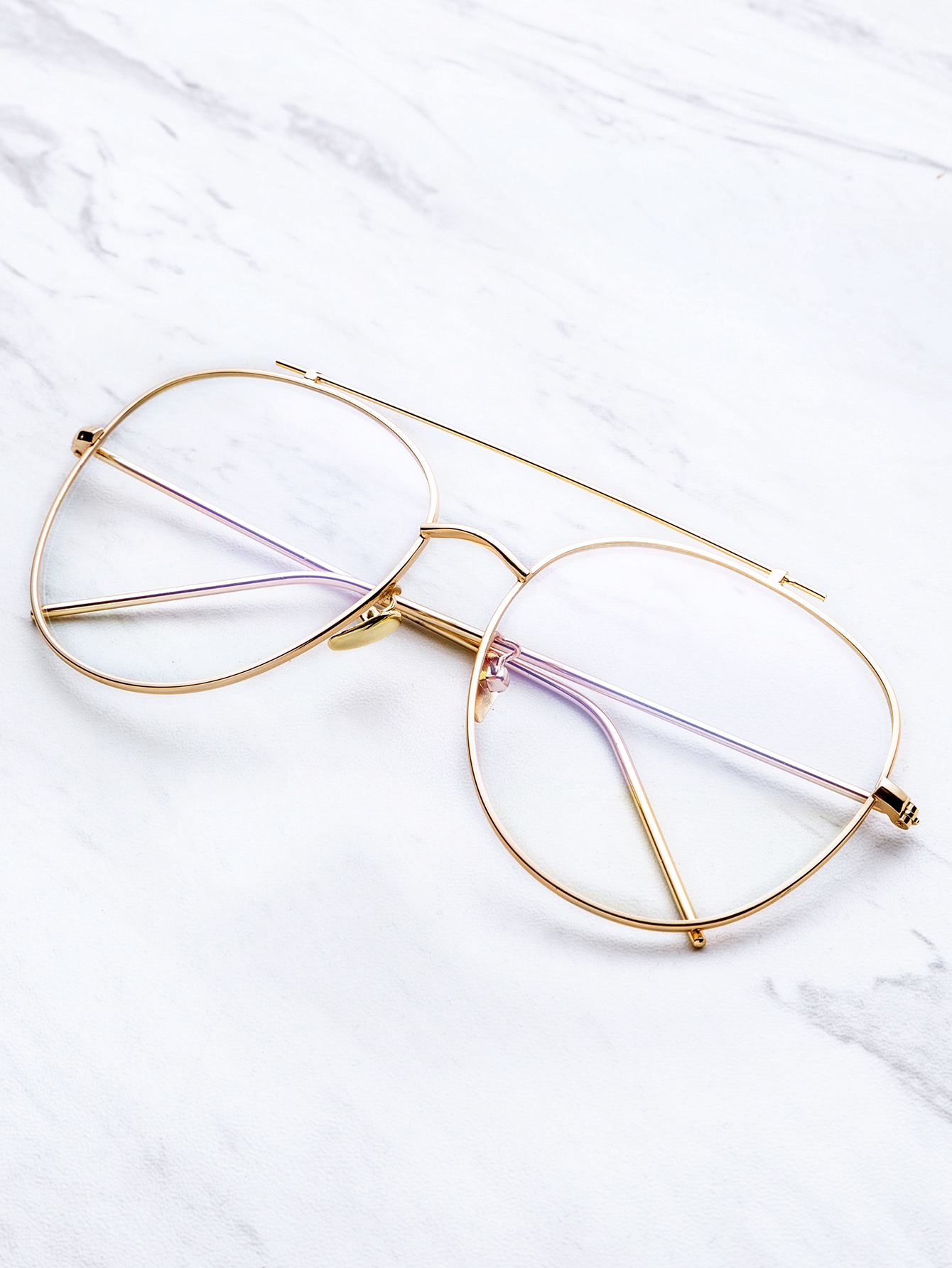 Gold Frame Clear Lens Double Bridge Glasses