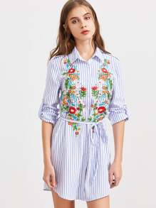 Roll-Up Sleeve Vertical Striped Shirt Dress With Belt