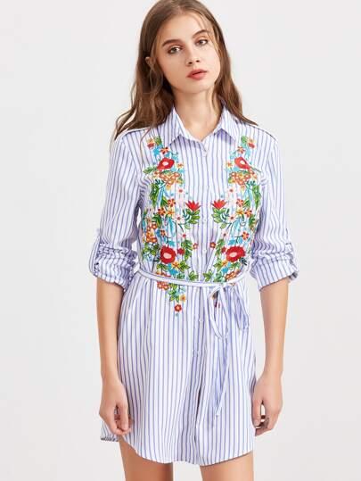 Roll-Up Sleeve Vertical Striped Shirt Dress With Belt