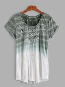 Ombre Embroidered Hollow Out Dip Hem Cuffed T-shirt
