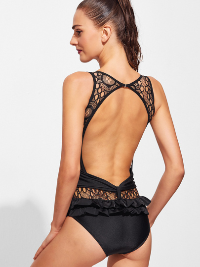 Open Back Frill Detail One-piece Swimwear