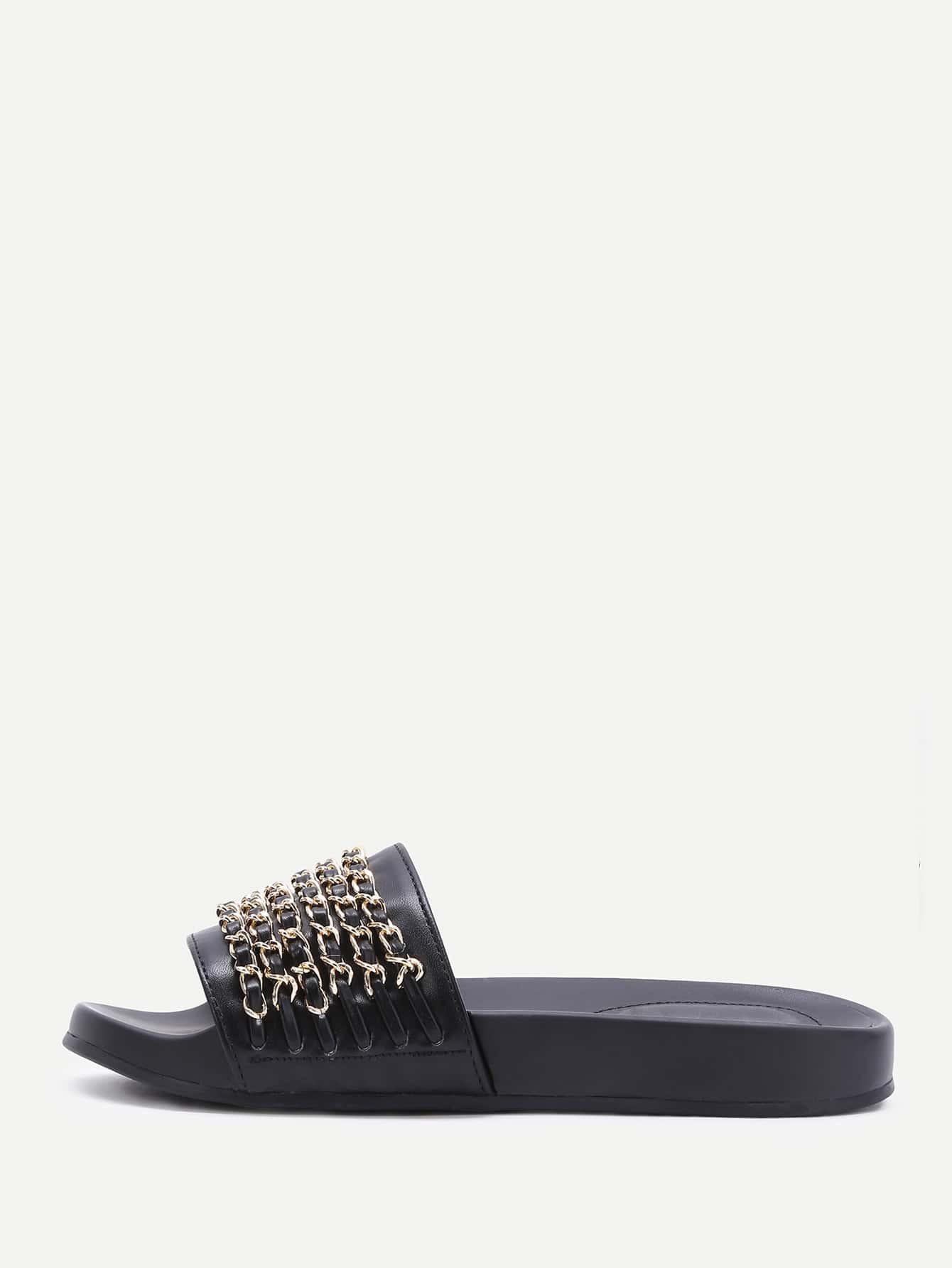 Фото Black PU Slippers With Gold Chain Detail. Купить с доставкой