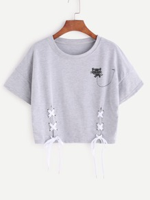 Heather Grey Cartoon Print Lace Up Side Ernte T-Shirt