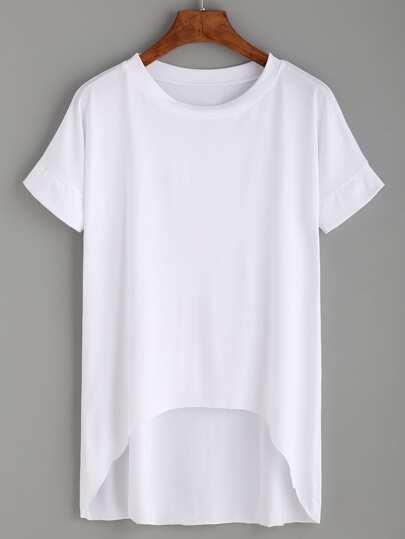 Camiseta bajo asimétrico - blanco