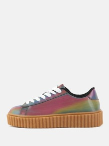 Round Toe Hologram Platform Sneakers RAINBOW