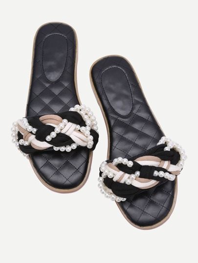 Black Pearl Detail Braided Design Slippers