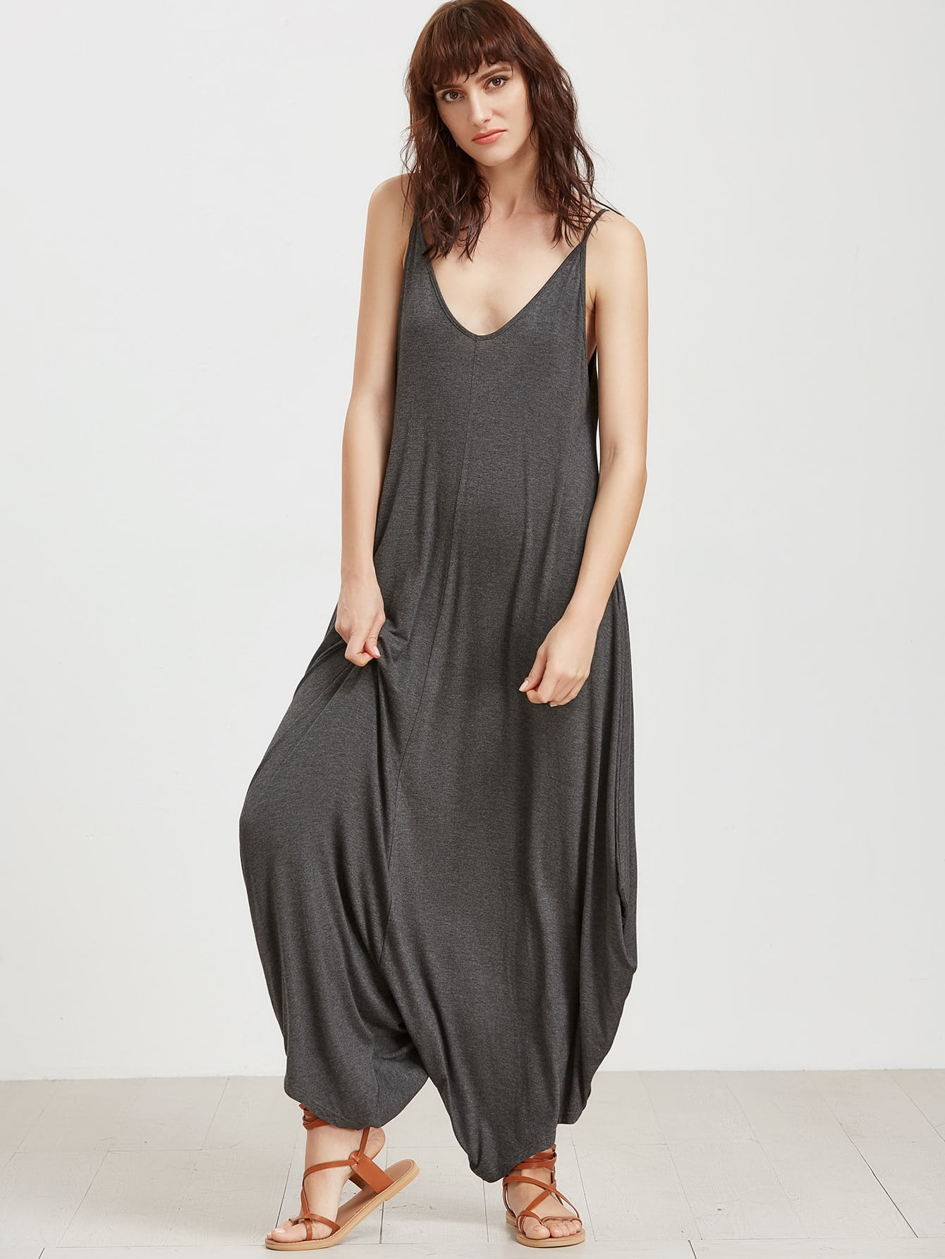 Фото Double V Neck Drop Crotch Cami Jumpsuit. Купить с доставкой