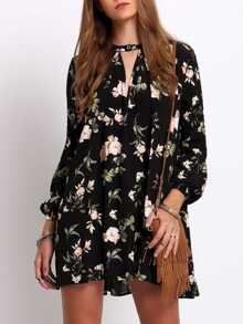 Lantern Sleeve Floral Print Shift Dress
