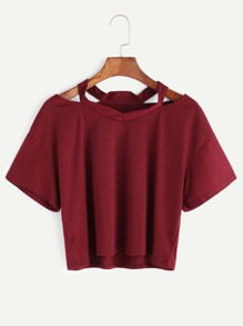 Burgundy Cut Out Neck Crop T-shirt