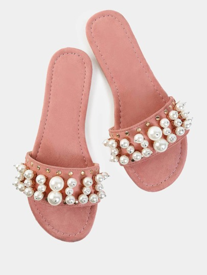 Pastel Faux Suede Pearl Slide Sandals DUSTY PINK