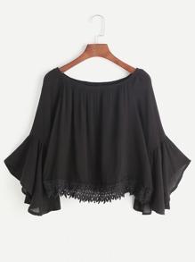 Black Boat Neck Bell Sleeve Contrast Crochet Hem Top