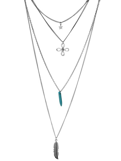 Silver Layered Charm Pendant Chain Necklace