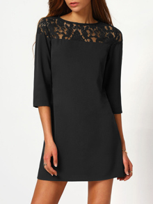Black Sheer Floral Lace Yoke Buttoned Keyhole Tunic Dress