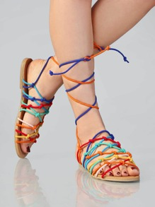 Rainbow Knotted Lace Up Sandals MULTI