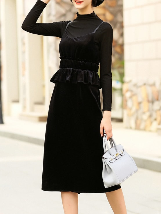 Фото Black Spaghetti Strap Velvet Two-pieces T-shirt Dress. Купить с доставкой