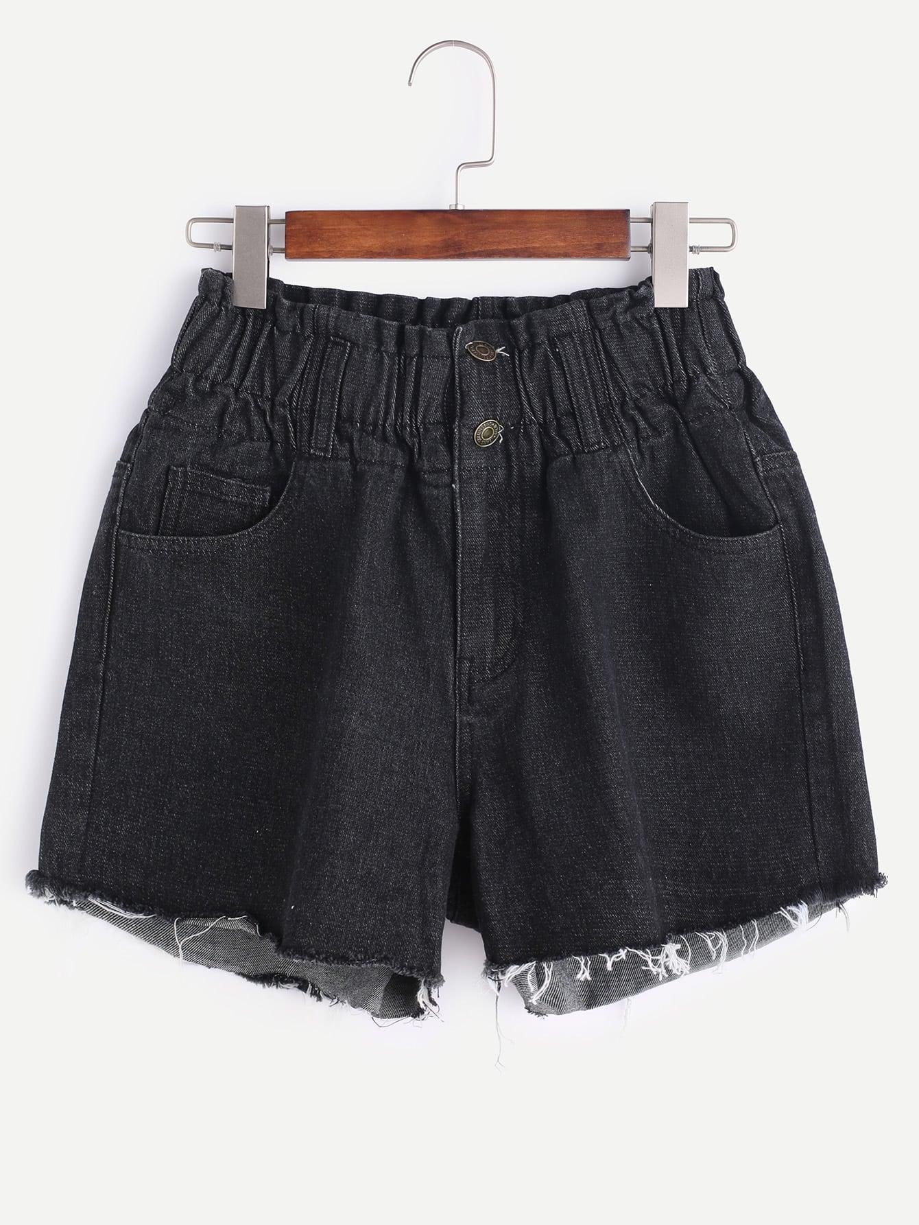 Фото Buttoned Elastic Waist Raw Cut Denim Shorts. Купить с доставкой