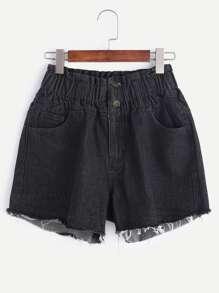 Shorts ausgefranste Denim elastische Taille - schwarz