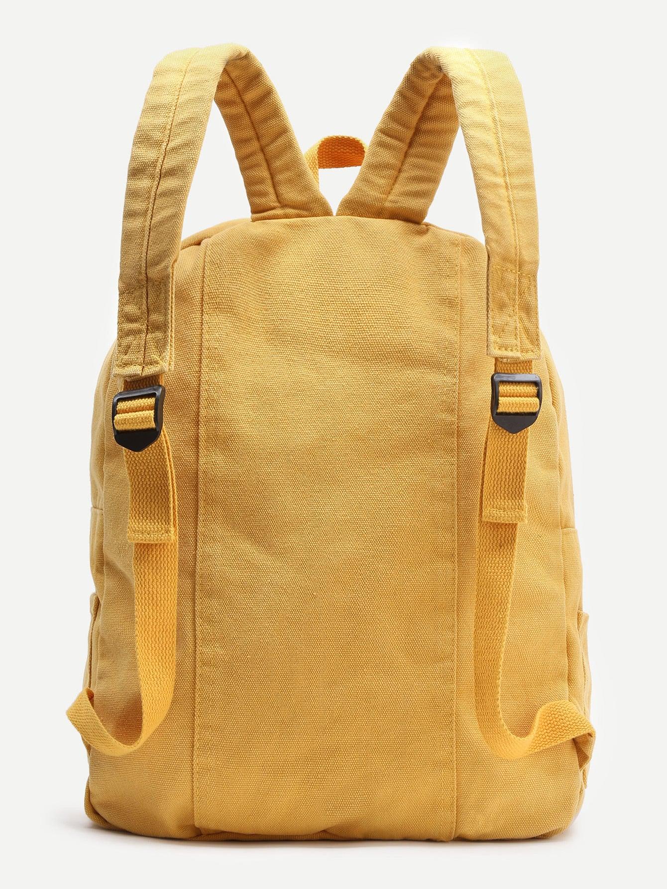 Yellow Zipper Front Canvas Backpack -SheIn(Sheinside)