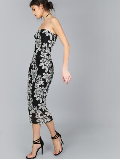 Black Flower Print Bandeau Midi Dress
