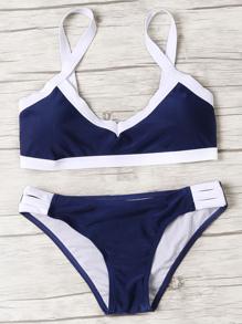 Sets de bikini ribete en contraste con abertura - marino