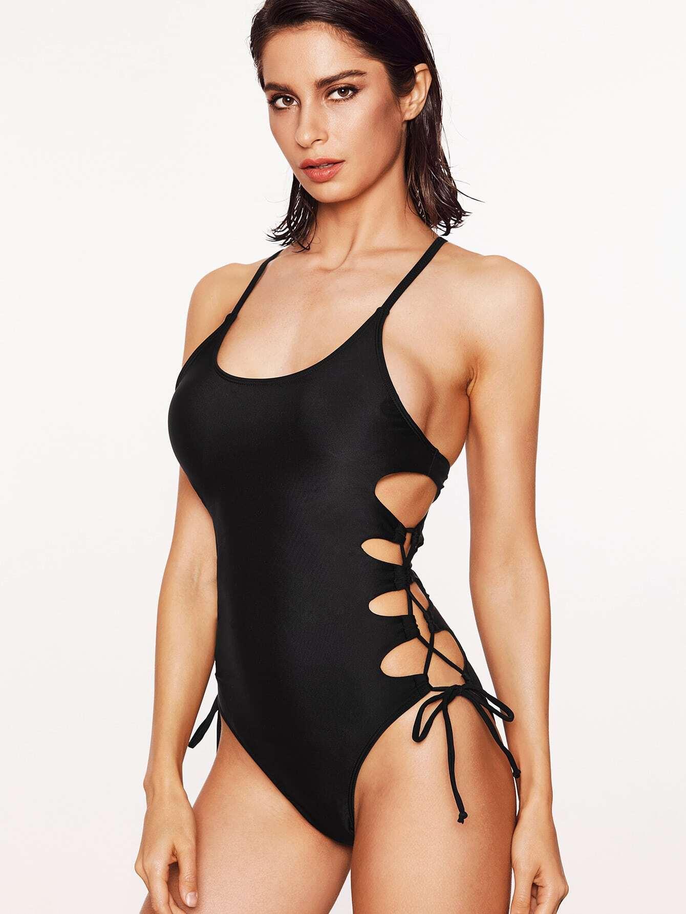 Фото Lace Up Design Spaghetti Strap Swimsuit. Купить с доставкой