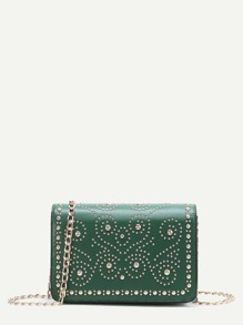 Green Studded PU Chain Bag